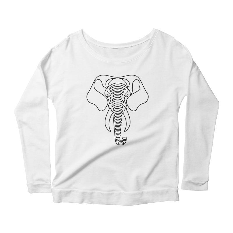 Minimalist Elephant (black on white) Women's Scoop Neck Longsleeve T-Shirt by Marci Brinker's Artist Shop