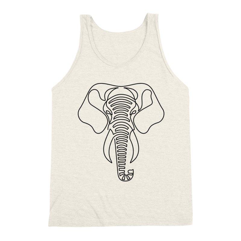 Minimalist Elephant (black on white) Men's Triblend Tank by Marci Brinker's Artist Shop
