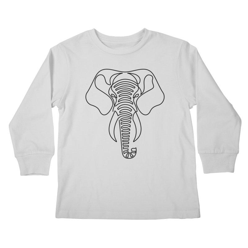 Minimalist Elephant (black on white) Kids Longsleeve T-Shirt by Marci Brinker's Artist Shop