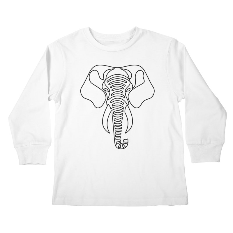 Minimalist Elephant (black on white) Kids Longsleeve T-Shirt by Marci Brinker's Artist Shop