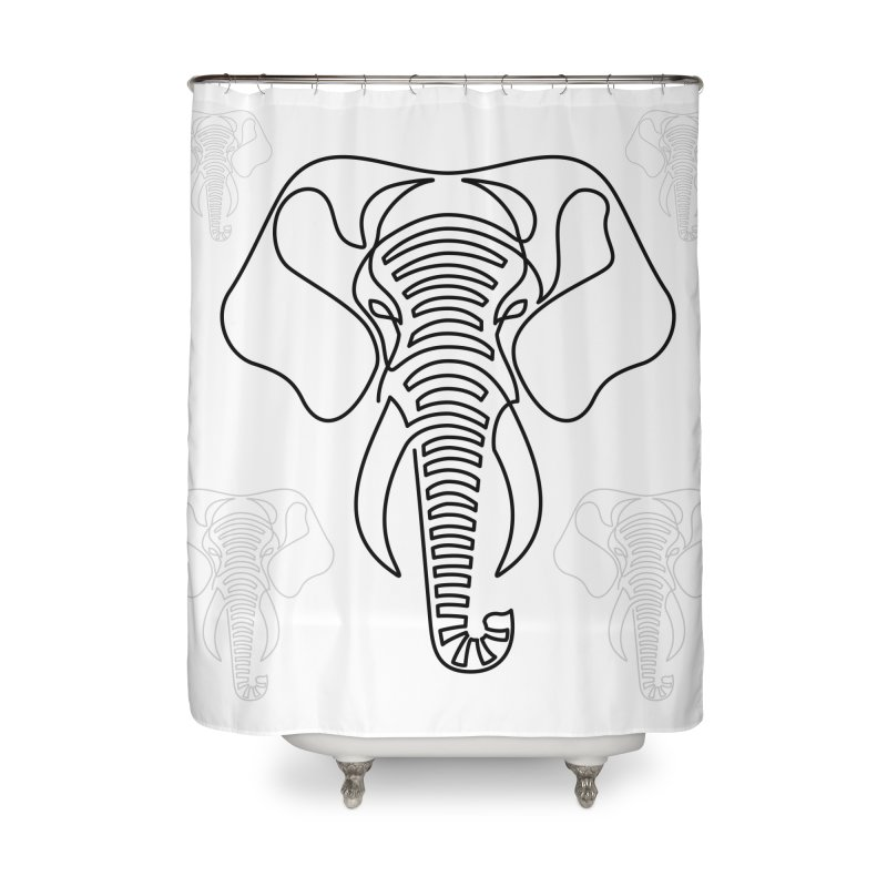 Minimalist Elephant (black on white) Home Shower Curtain by Marci Brinker's Artist Shop