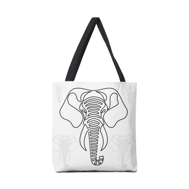 Minimalist Elephant (black on white) Accessories Bag by Marci Brinker's Artist Shop