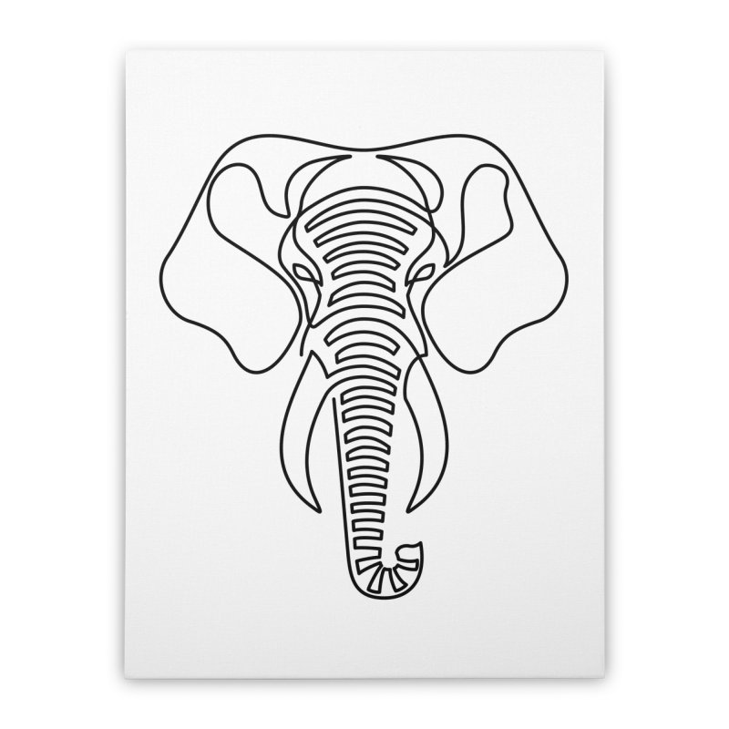 Minimalist Elephant (black on white) Home Stretched Canvas by Marci Brinker's Artist Shop