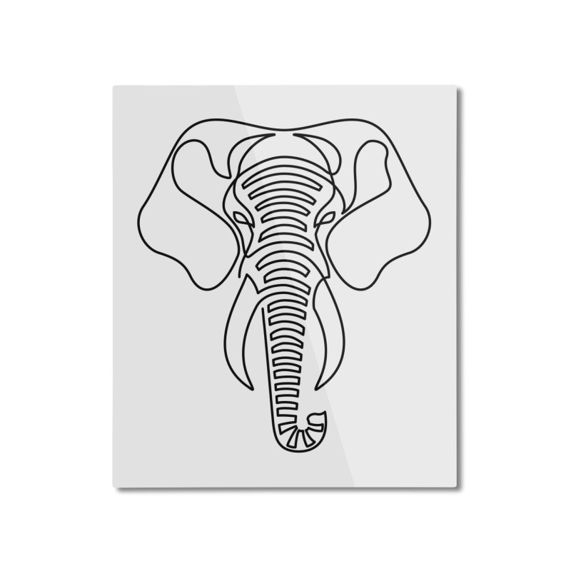 Minimalist Elephant (black on white) Home Mounted Aluminum Print by Marci Brinker's Artist Shop