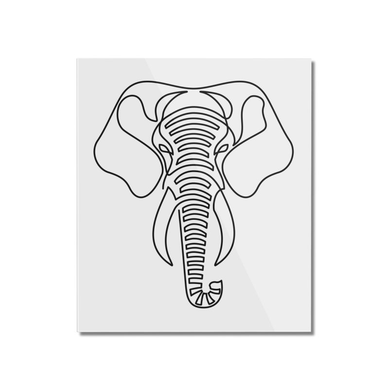 Minimalist Elephant (black on white) Home Mounted Acrylic Print by Marci Brinker's Artist Shop