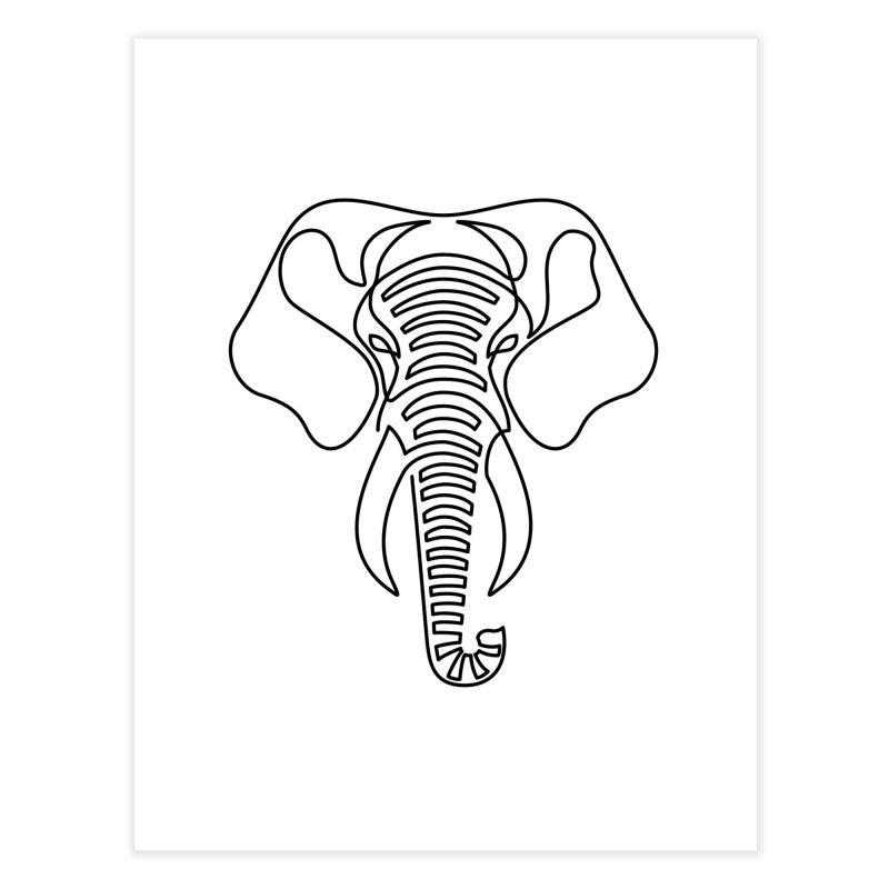 Minimalist Elephant (black on white) Home Fine Art Print by Marci Brinker's Artist Shop