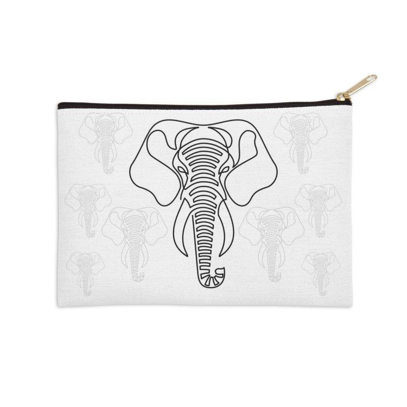 Minimalist Elephant (black on white) Accessories Zip Pouch by Marci Brinker's Artist Shop