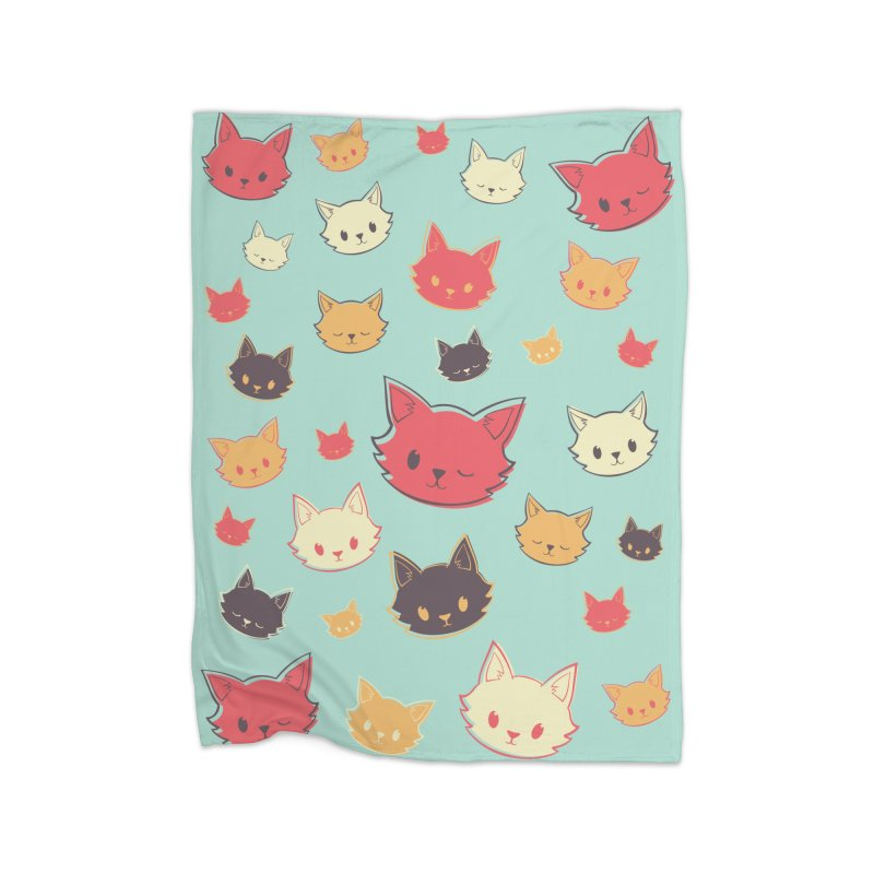 Kitty Wink Home Fleece Blanket Blanket by Marci Brinker's Artist Shop