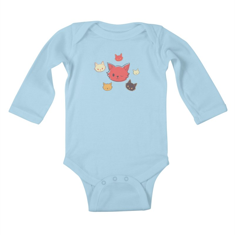 Kitty Wink Kids Baby Longsleeve Bodysuit by Marci Brinker's Artist Shop