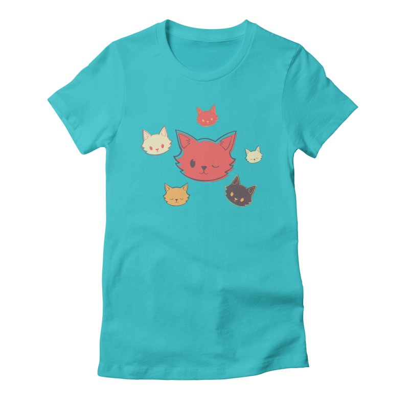 Kitty Wink Women's Fitted T-Shirt by Marci Brinker's Artist Shop