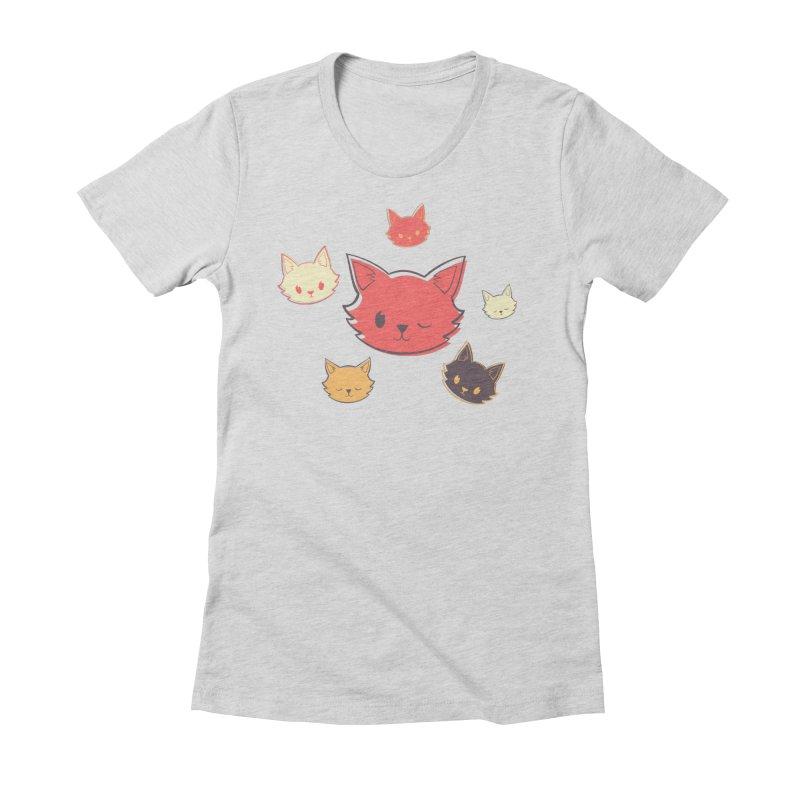 Kitty Wink Women's Fitted T-Shirt by Marci Brinker's Artist Shop