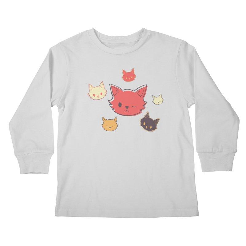 Kitty Wink Kids Longsleeve T-Shirt by Marci Brinker's Artist Shop