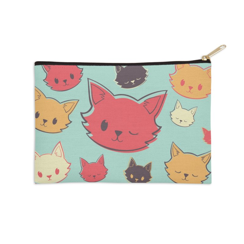 Kitty Wink Accessories Zip Pouch by Marci Brinker's Artist Shop