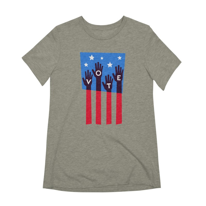 Vote Hands Flag Women's Extra Soft T-Shirt by Marci Brinker's Artist Shop