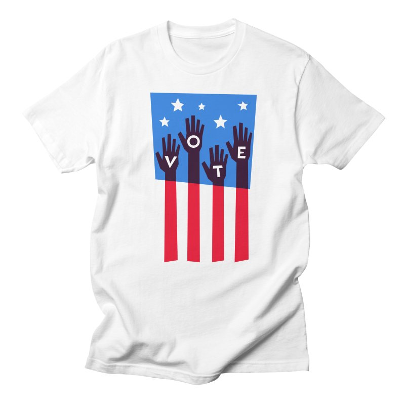 Vote Hands Flag Women's Regular Unisex T-Shirt by Marci Brinker's Artist Shop