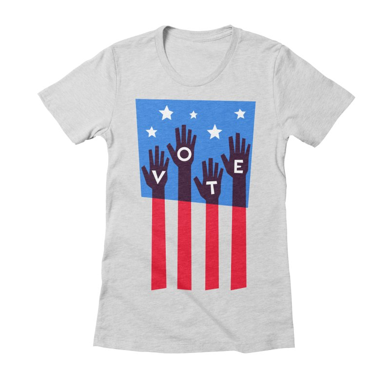 Vote Hands Flag Women's Fitted T-Shirt by Marci Brinker's Artist Shop
