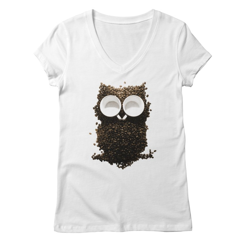 Hoot! Night Owl! Women's V-Neck by Apparel by Marco aka ivejustquitsmoking