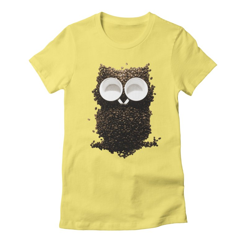 Hoot! Night Owl! Women's Fitted T-Shirt by Apparel by Marco aka ivejustquitsmoking