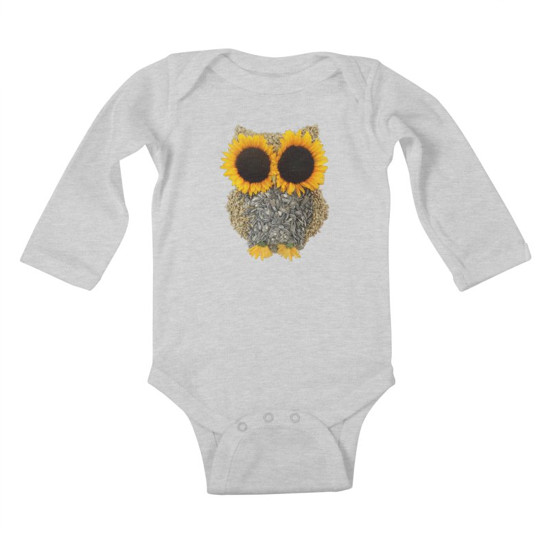 Hoot! Day Owl! Kids Baby Longsleeve Bodysuit by Apparel by Marco aka ivejustquitsmoking