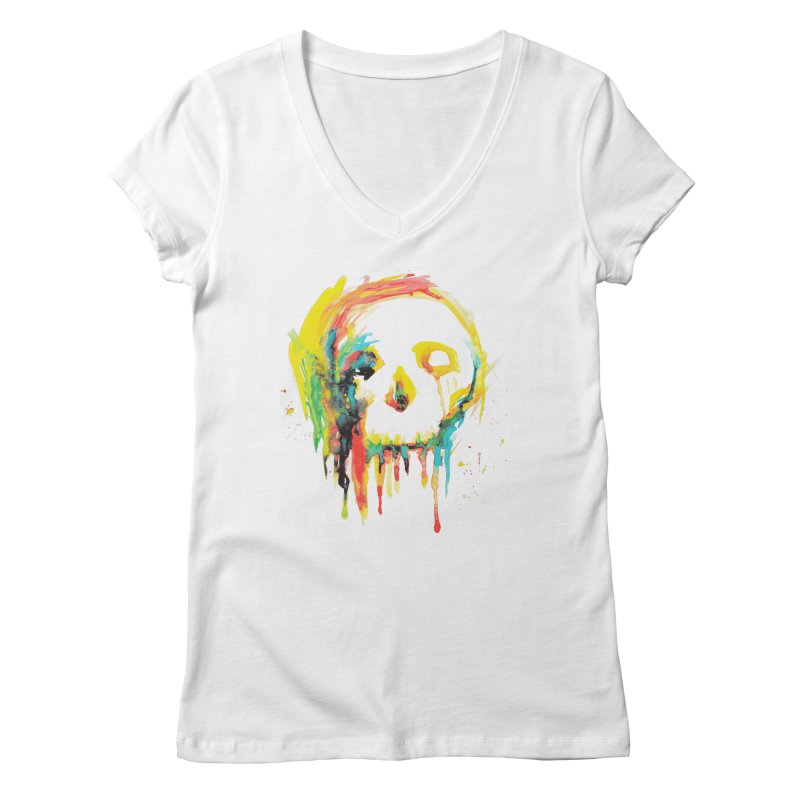 Happy/Grim Women's Regular V-Neck by Apparel by Marco aka ivejustquitsmoking