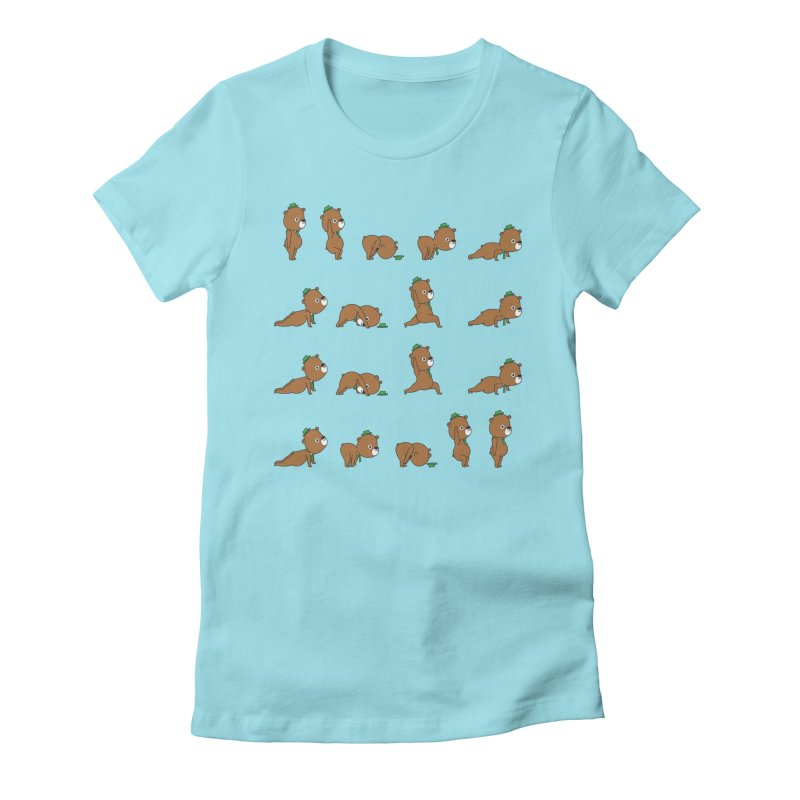 Yoga Bear Women's Fitted T-Shirt by Apparel by Marco aka ivejustquitsmoking