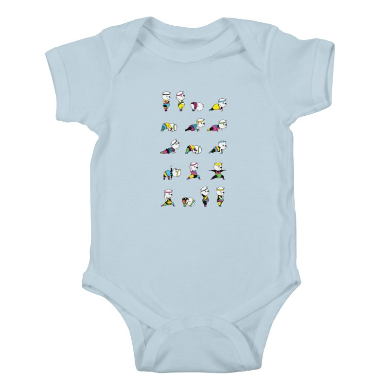 Yoga Bear 80's Remix Kids Baby Bodysuit by Apparel by Marco aka ivejustquitsmoking