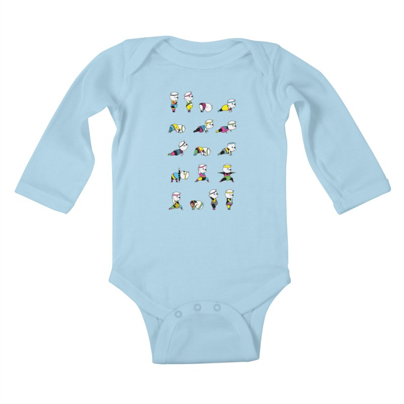 Yoga Bear 80's Remix Kids Baby Longsleeve Bodysuit by Apparel by Marco aka ivejustquitsmoking