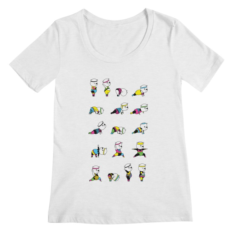 Yoga Bear 80's Remix Women's Scoopneck by Apparel by Marco aka ivejustquitsmoking
