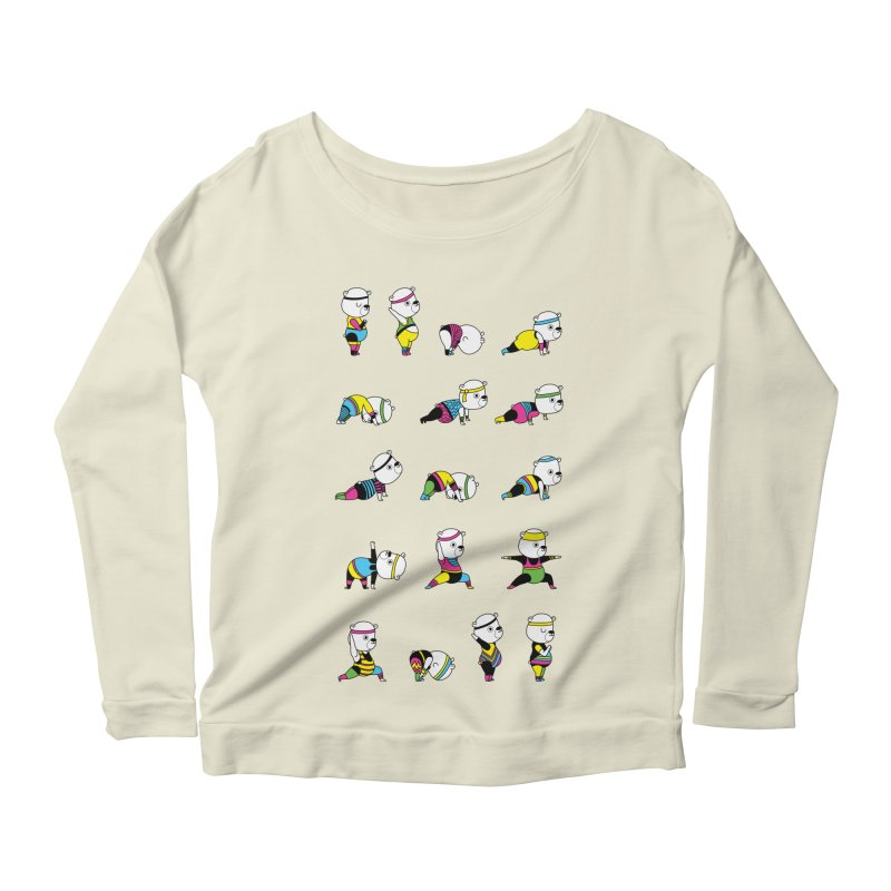 Yoga Bear 80's Remix Women's Scoop Neck Longsleeve T-Shirt by Apparel by Marco aka ivejustquitsmoking