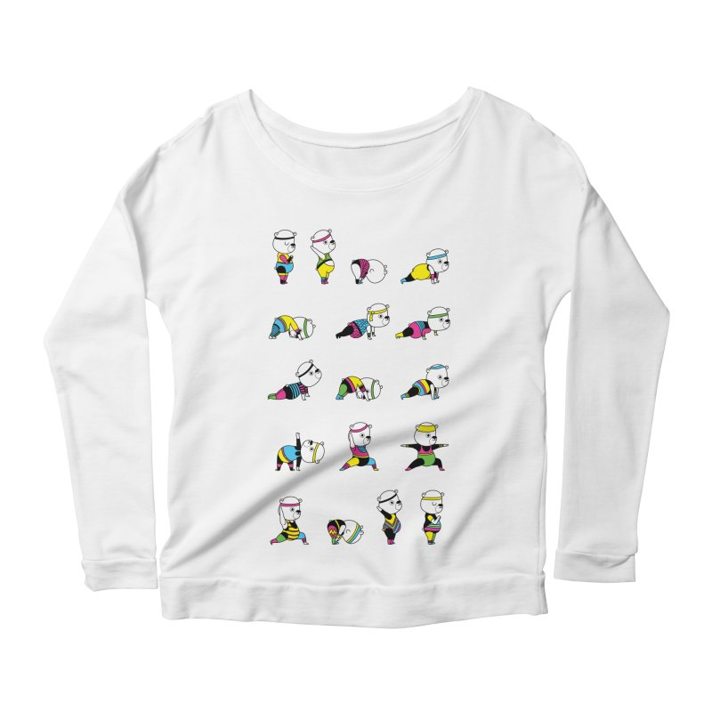 Yoga Bear 80's Remix Women's Longsleeve Scoopneck  by Apparel by Marco aka ivejustquitsmoking