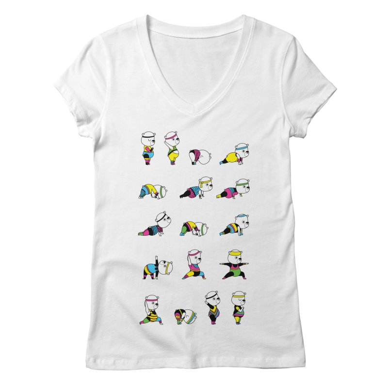 Yoga Bear 80's Remix Women's Regular V-Neck by Apparel by Marco aka ivejustquitsmoking