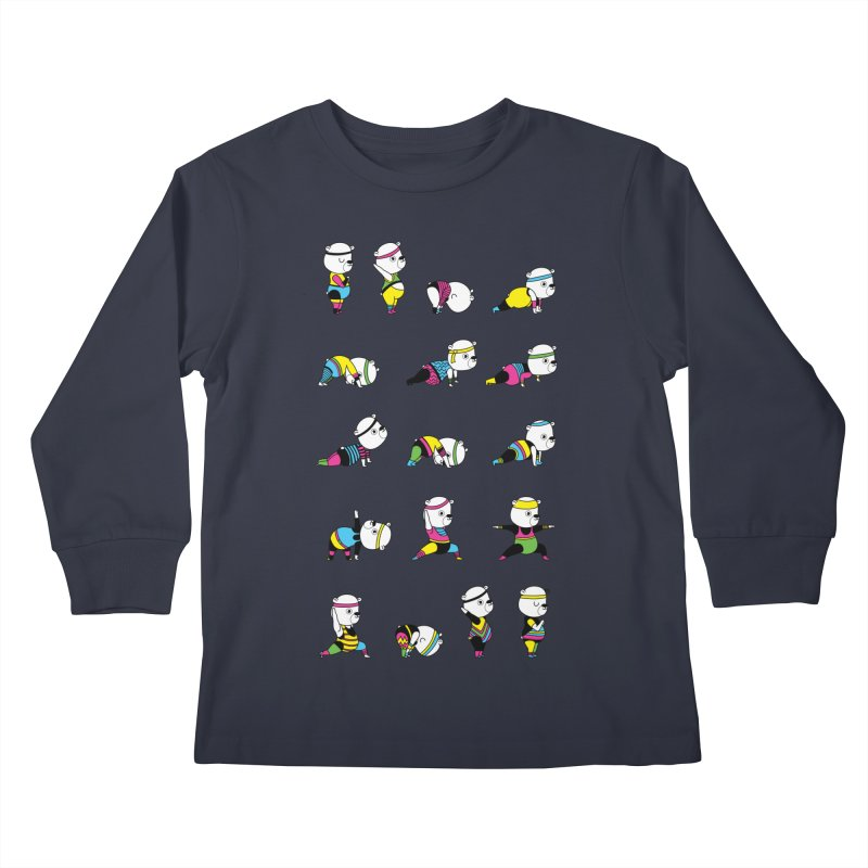 Yoga Bear 80's Remix Kids Longsleeve T-Shirt by Apparel by Marco aka ivejustquitsmoking