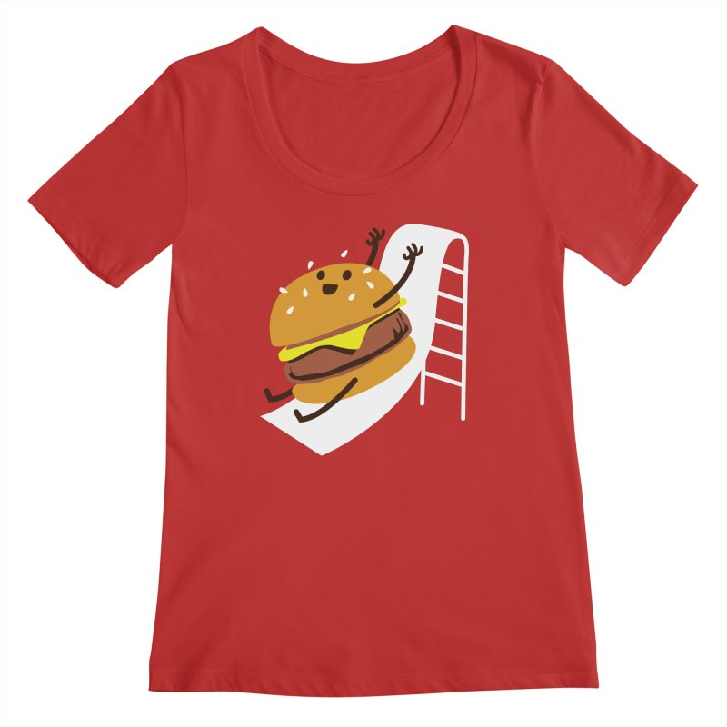 Slider Burger Women's Regular Scoop Neck by Apparel by Marco aka ivejustquitsmoking