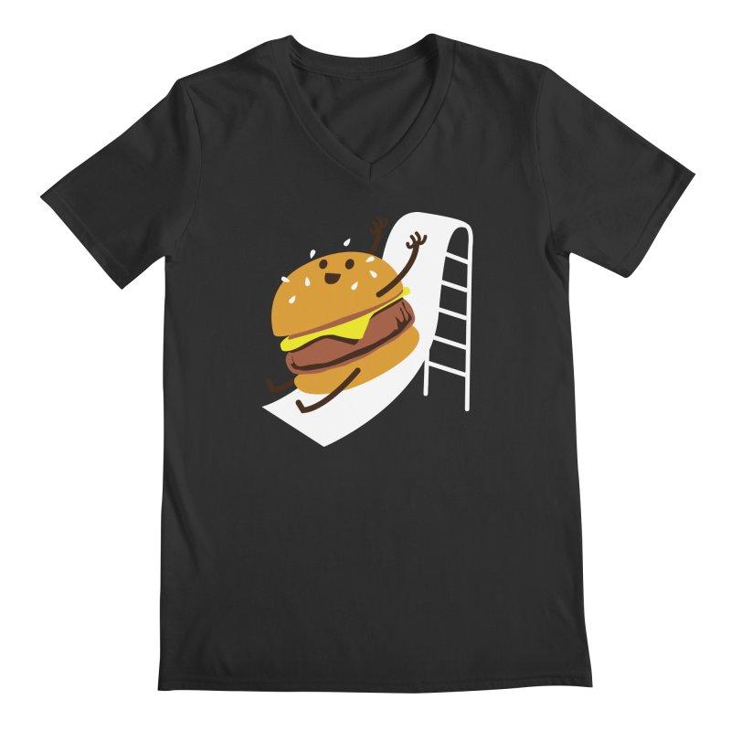 Slider Burger Men's Regular V-Neck by Apparel by Marco aka ivejustquitsmoking