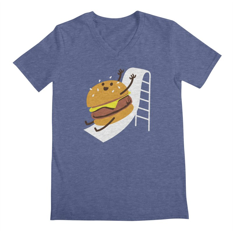 Slider Burger Men's V-Neck by Apparel by Marco aka ivejustquitsmoking