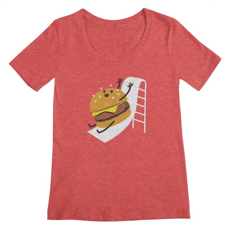 Slider Burger Women's Regular Scoop Neck by Apparel by Marco aka ivejustquitsmoking