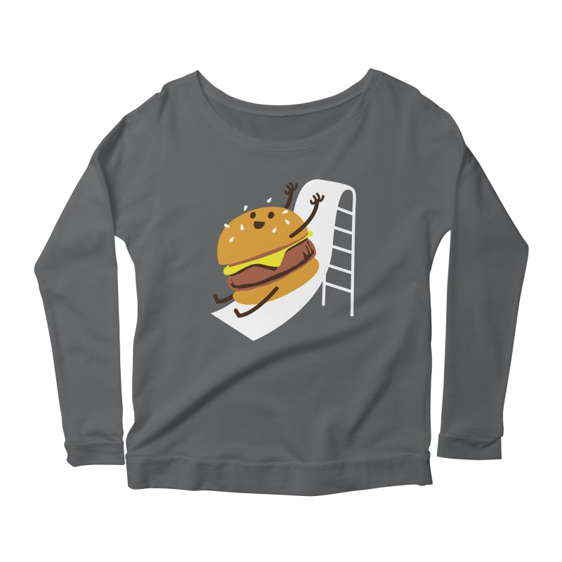 Slider Burger Women's Longsleeve Scoopneck  by Apparel by Marco aka ivejustquitsmoking