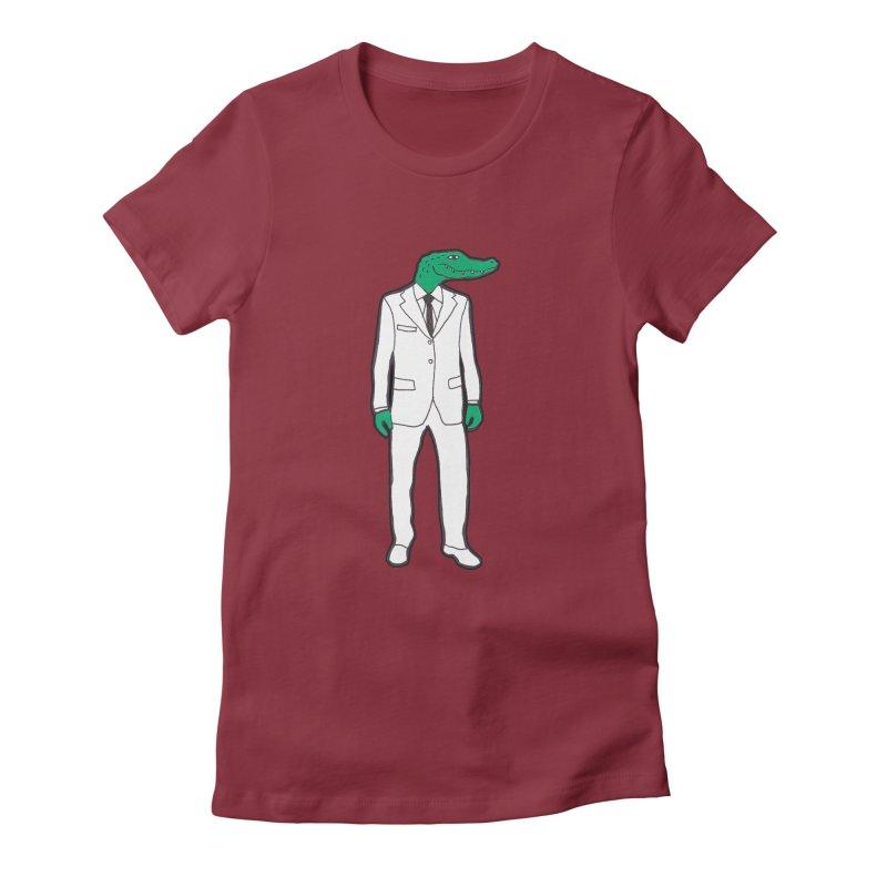 Gator Women's Fitted T-Shirt by MarcPaperScissor's Artist Shop