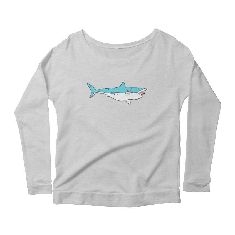 The Great Shark Women's Longsleeve Scoopneck  by MarcPaperScissor's Artist Shop