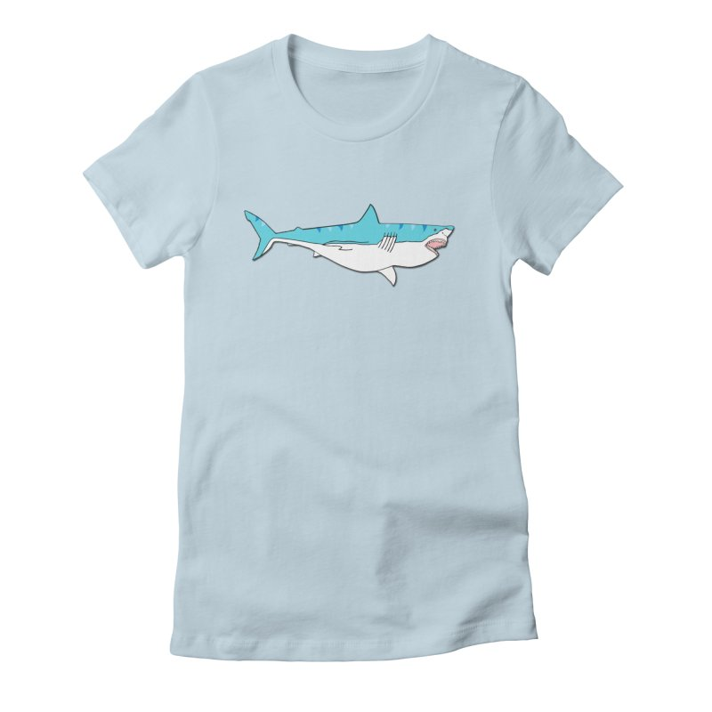 The Great Shark Women's Fitted T-Shirt by MarcPaperScissor's Artist Shop