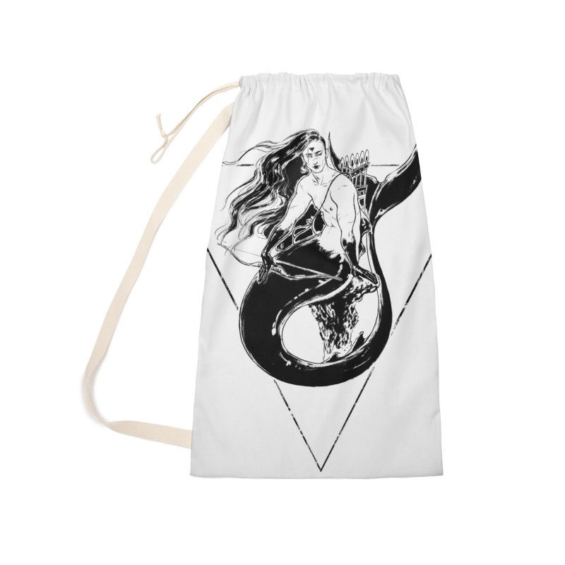 Black Mermaid Accessories Laundry Bag Bag by Mar del Valle's Artist Shop
