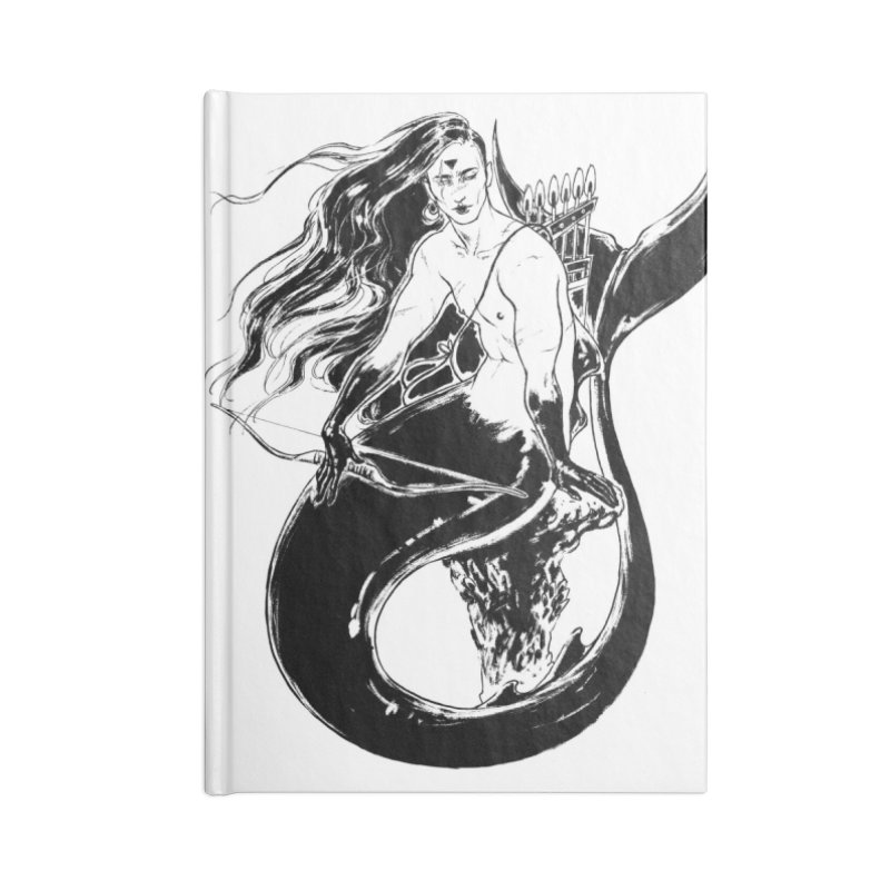 Black Mermaid Accessories Lined Journal Notebook by Mar del Valle's Artist Shop
