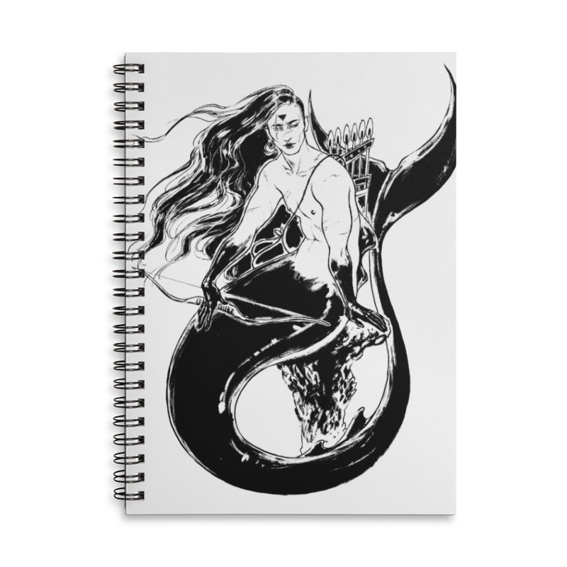Black Mermaid Accessories Lined Spiral Notebook by Mar del Valle's Artist Shop