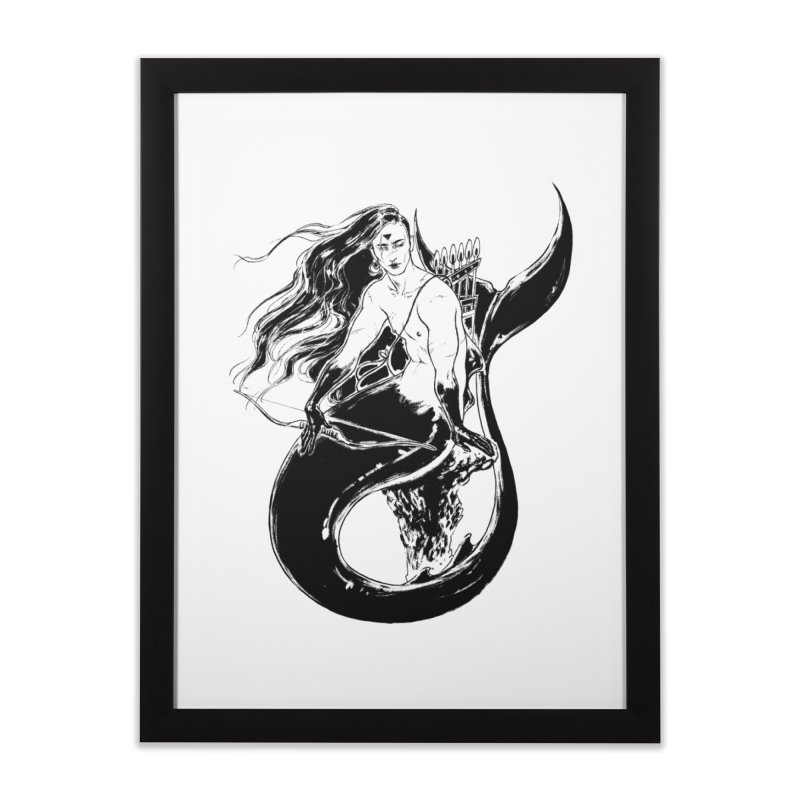Black Mermaid Home Framed Fine Art Print by Mar del Valle's Artist Shop