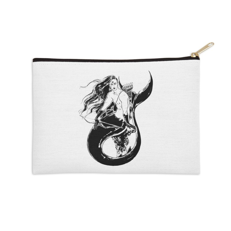 Black Mermaid Accessories Zip Pouch by Mar del Valle's Artist Shop