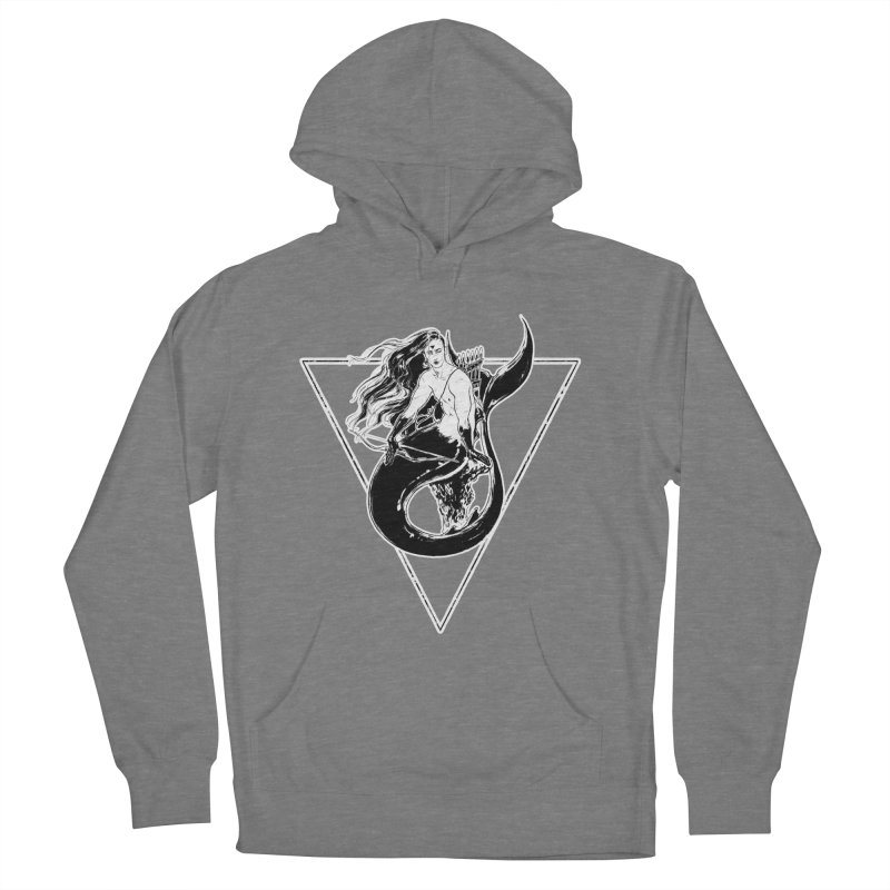 Black Mermaid Men's French Terry Pullover Hoody by Mar del Valle's Artist Shop