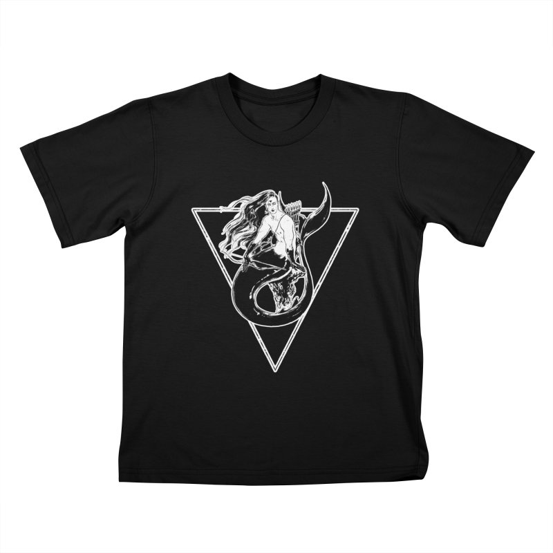 Black Mermaid Kids T-Shirt by Mar del Valle's Artist Shop
