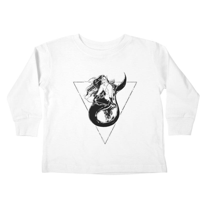 Black Mermaid Kids Toddler Longsleeve T-Shirt by Mar del Valle's Artist Shop