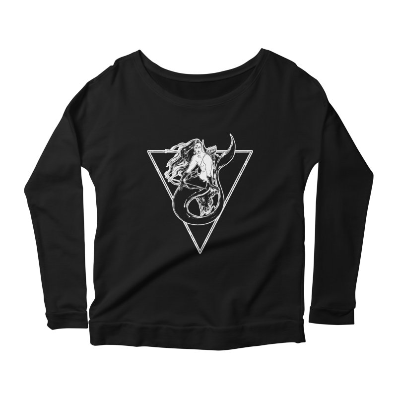 Black Mermaid Women's Longsleeve Scoopneck  by Mar del Valle's Artist Shop