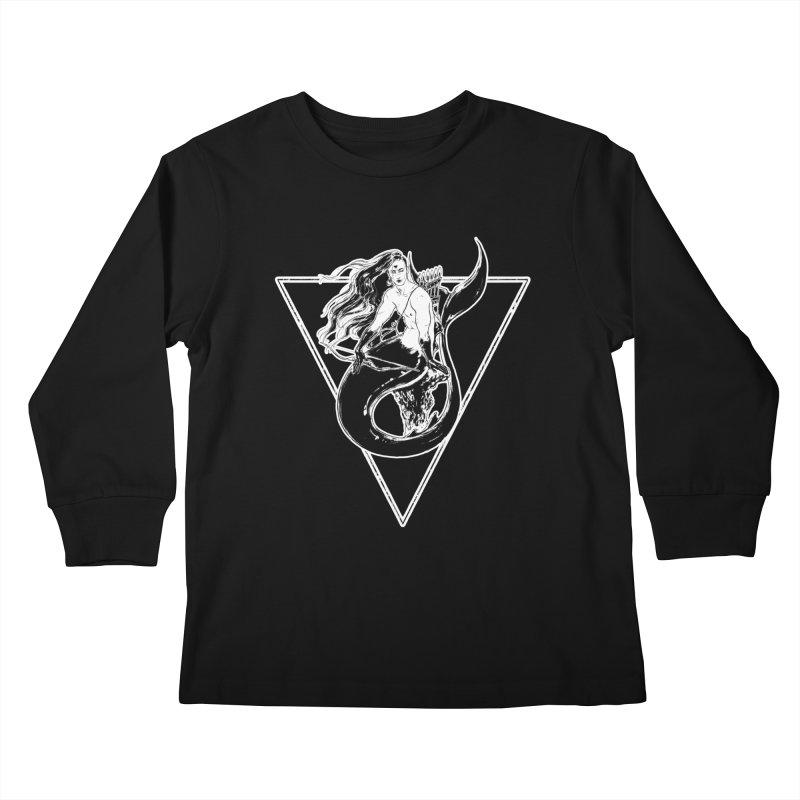 Black Mermaid Kids Longsleeve T-Shirt by Mar del Valle's Artist Shop